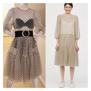 H&M Flock-print Mesh Dress